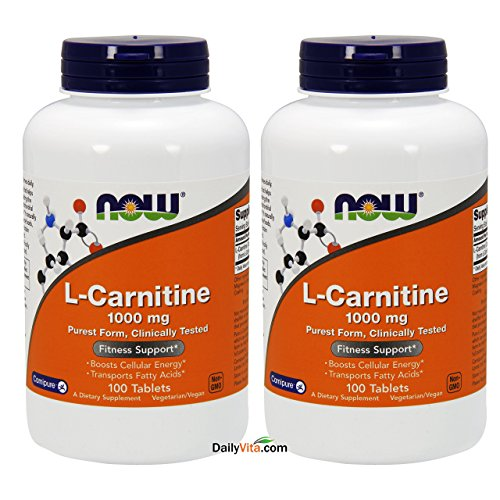 NOW Foods L- Carnitine Tartrate 1000mg, 100 Tablets (Pack of 2) (1,000 Mg 100 Tabs)