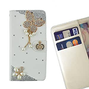 Cat Family Crystal Diamond Waller Leather Case Cover - FOR HTC Desire 728 728G - Bow Flowers -