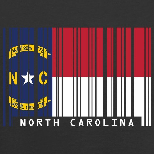 North Carolina / Nord-Carolina Barcode Flagge - Herren T-Shirt - Schwarz - M