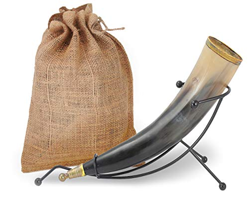 """Well Pack Box Viking Drinking Horn 12"""" For Beer Ale Mead Wine Game of Thrones Medieval Norse Style Mug Holds 9-12 ounces Plus Table ()"""