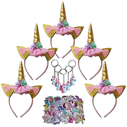 (Unicorn Headbands for Girls - 5 Unicorn Headbands - 5 Unicorn Keyrings - 30 Unicorn Stickers - Party Favors for Girls - Great for Birthday, Halloween, Dress Up, Christmas -)