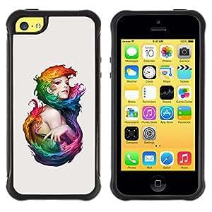 Suave TPU GEL Carcasa Funda Silicona Blando Estuche Caso de protección (para) Apple Iphone 5C / CECELL Phone case / / Watercolor Art Woman Mermaid Fairy Girl Paint /