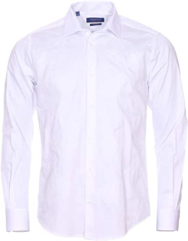 Meadrine - Camisa para Hombre, Bordada, diseño de Flores, Color Blanco: Amazon.es: Ropa y accesorios