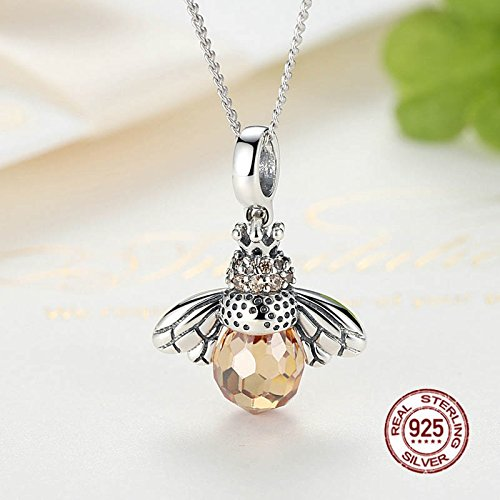 TOOGOO 925 Sterling Silver Dancing Honey Bee Chain Link Women Bracelet Crystal Big Stone Bracelet Jewelry bSqJxwJfj