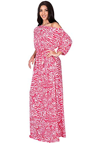 KOH KOH Womens Long 3/4 Short Sleeve Sexy One Off Shoulder Casual Spring Summer Floor Length Print Printed Flowy Loose Baggy Gown Gowns Maxi Dress Dresses, Pink & White L 12-14