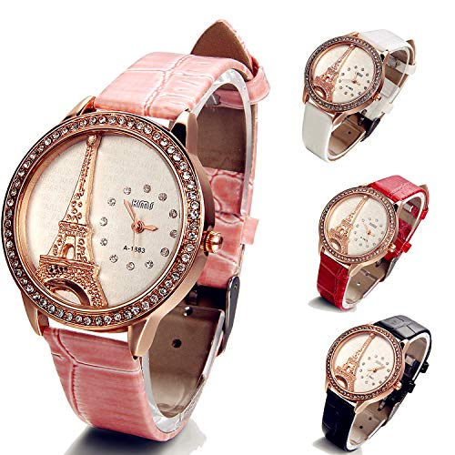 (Ladies Crystal Bracelet Bangle Eiffel Tower 4 Pack Women Girls Leather Strap Watches with Gift Bag)