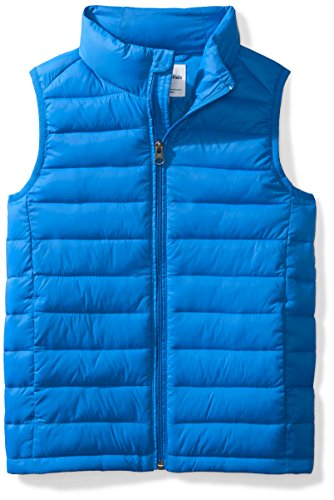 Amazon Essentials Big Boys' Lightweight Water-Resistant Packable Puffer Vest, Bright Blue, Medium ()
