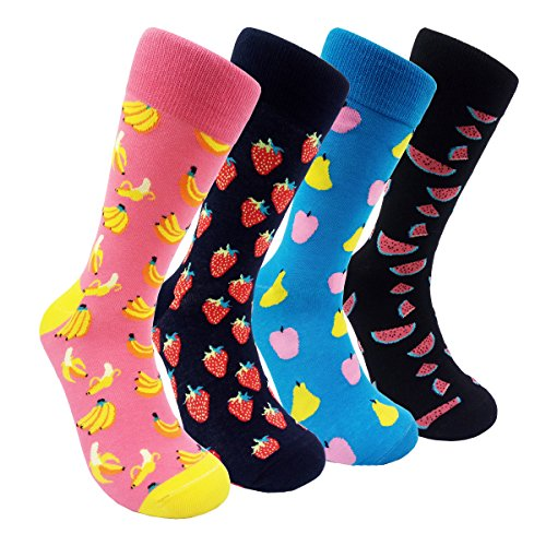 Novelty Mens Dress Socks - Funky Fruits Patterned Combed Cotton Mens Cerw Socks