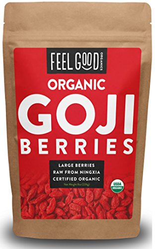 - Organic Goji Berries - 8oz Resealable Bag - 100% Raw From Ningxia - by Feel Good Organics