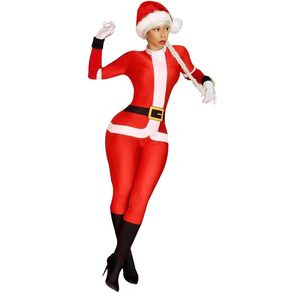 Usstore  Women Christmas Jumpsuit Set Winter Mandatory Santa Claus Cosplay Fun Romper Bodysuit with Cap Outfits Usstore Men' s pant clothes