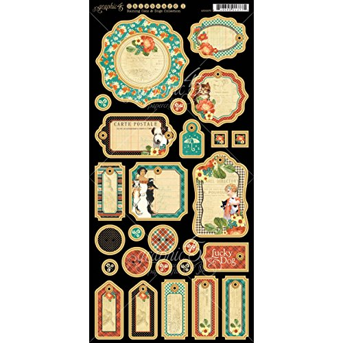 Graphic 45 Raining Cats and Dogs Chipboard Die-Cuts, - Chipboard Adhesive Tags