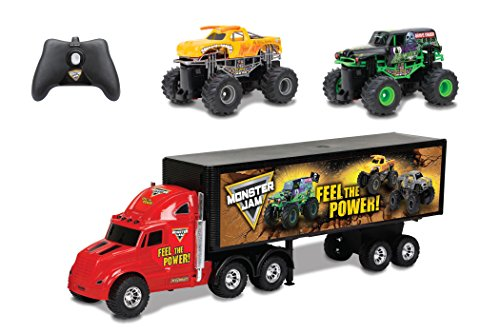 Monster Truck Grave Digger (New Bright R/C S/F Hauler Set Car Carrier with Two Mini Monster Jam Trucks (Grave Digger & El Toro Loco), 22