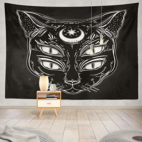 KJONG Black Cat Head Portrait with Moon and Psychedelic Cat Tattoo Horror Anime Gothic Moon Face Halloween Creepy Decorative Tapestry,60X80 Inches Wall Hanging Tapestry for Bedroom Living Room