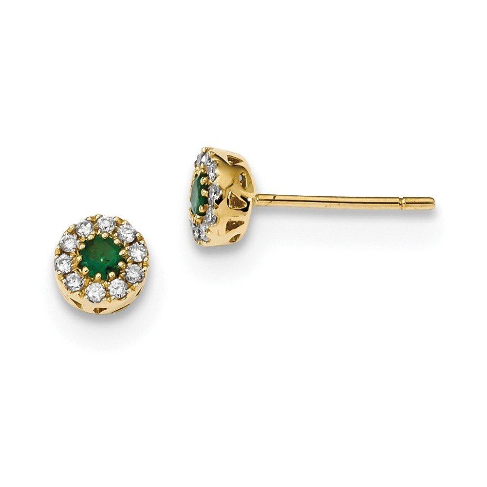 5.75mm 14k Diamond and Emerald Post Earrings by JewelryWeb
