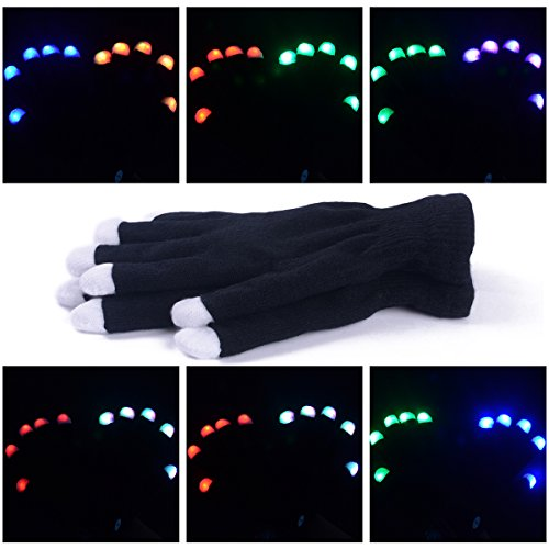 LED Gloves Flashing Finger Lighting Gloves with 6 Modes for Clubbing, Rave, Birthday, EDM, Disco, and Dubstep Party by Swiftrans(TM) (Black 6 Modes)
