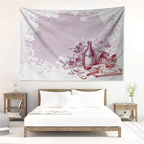 alisos Wine,Wall Decor Tapestry Grunge Abstract Frame Bunch of Grapes Leaves Country Drinks Food Picnic Concept 91W x 60L Inch Tapestry Wallpaper Home Decor Lilac and White
