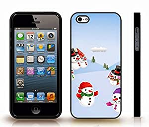 iStar Cases? iPhone 5/5S Case with Snowmen, Holiday Themed, Snowman Family enjoying Winter , Snap-on Cover, Hard Carrying Case (Black)