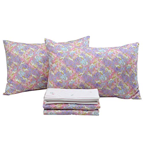Brandream Unicorn Bedding Sets King Size Girls Pink Lavender Unicorn Printed Sheets 100% Cotton Bed Sheet Sets Deep Pockets 18 Inch
