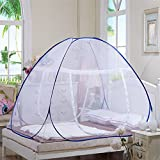 Home Cal Mosquito Net Tent for Bed Encryption Fabric 1/2 Openings Portable Folding Pop Up Mosquito Net Blue