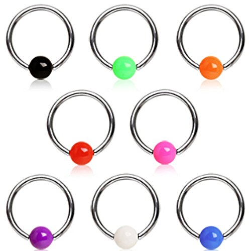 316L Surgical Steel Captive Bead Ring with Solid UV Ball (Sold (Uv Ball Captive Bead Ring)