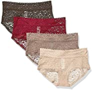 Amazon Essentials Womens 4-Pack Lace Stretch Hipster Panty