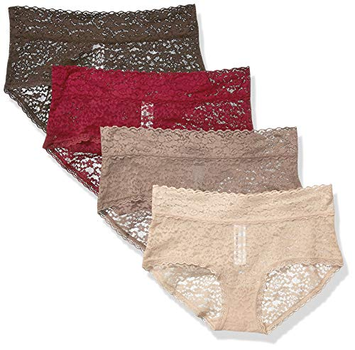 Lace Stretch Panties - Amazon Essentials Women's 4-Pack Lace Stretch Hipster Panty, Nude, M