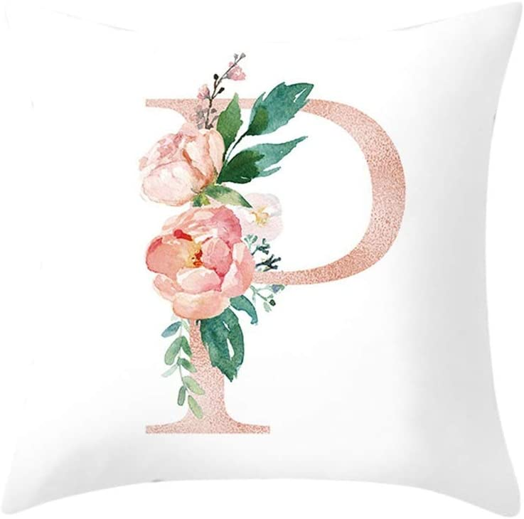 A Letter Pillow Alphabet Cushion Cover for Sofa Home Decoration Flower Pillowcase Bedroom Home Office Decorative