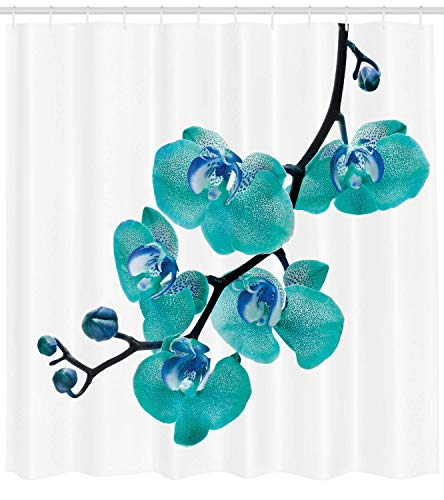 - Abaysto Aqua Blossoming Orchid Foliage Arrangement Spring Season Inspired Tropical Plant Theme Aqua Blue Black Bathroom Decor Shower Curtain Sets with Hooks Polyester Fabric Great Gift
