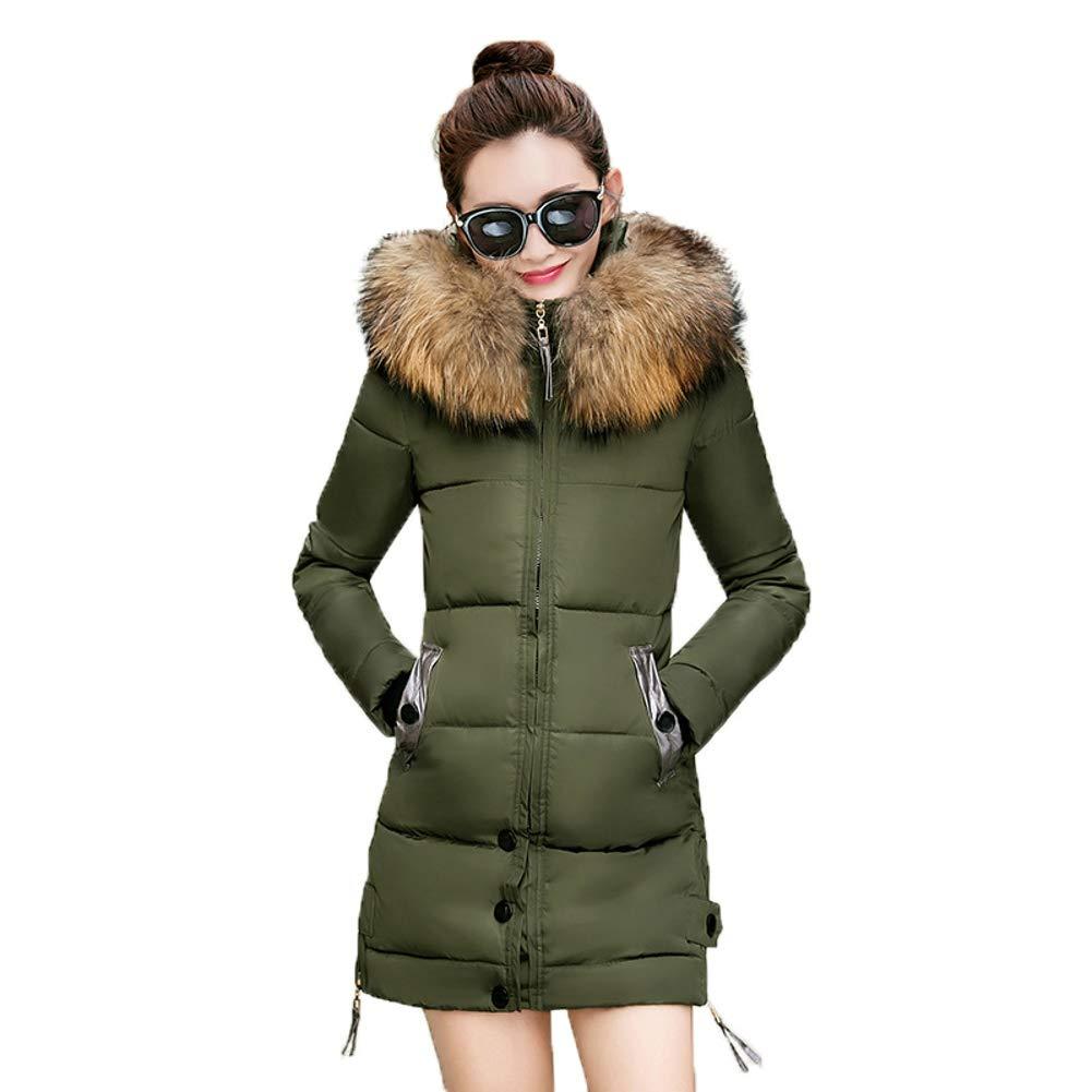 Green Dotoo Thick Warm Winter Slim Cotton Women's Long Hooded Big Fur Collar was Thin