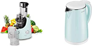 COMFEE' BPA Free Masticating Juicer Extractor with Ice Cream Maker Function. 3.4inch Large Chute. Mint Green & Electric Kettle Teapot 1.7 Liter Fast Water Heater Boiler 1500W, 1.7L, Mint Green