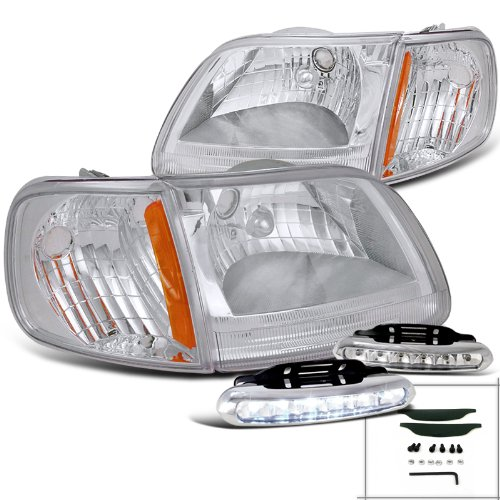 F150 Expedition Clear Headlight+Chrome Corner Signal+Driving LED Fog Lamps