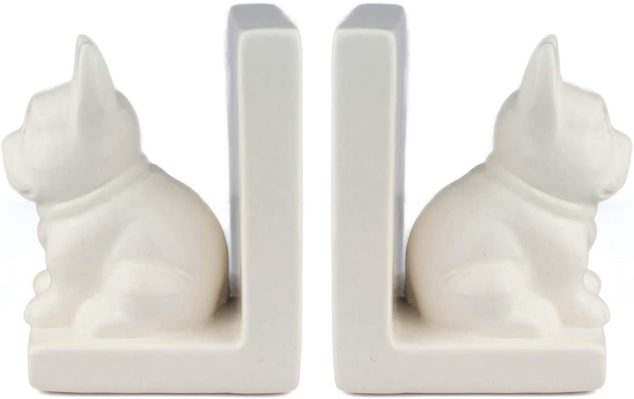 MINKO Dog Book Ends for Shelves 2pcs Set (White Dog), Ceramic Decorative Bookends (White Ceramic)
