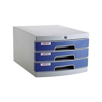 Archivador de escritorio de tres capas, tipo cajón, de plástico, para oficina,