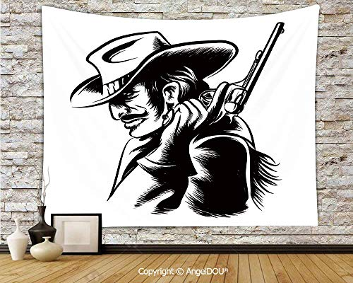 - AngelDOU Western Lightweight Fabric Tapestry Wall Hanging Profile Portrait of a Cowboy with Revolver Monochrome Dangerous Man in Texas Decorative for Living Room Bedroom.W78.7xL59(inch)