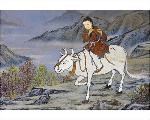 Photographic Print of Painting of coming home on the Ox s back, from the ten Ox Herding Pictures