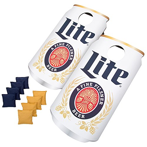 Miller Lite Can Cornhole Bean Bag Toss Game Set - Includes Bonus Mini Cornhole Tabletop Game! by TMG