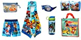 Custom Bundled Products Call The Paw Patrol Toddler Boys Swim Trunks Arm Floats Hooded Towel + Beach Accessories 7 Pc Bundle (5T)