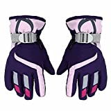 Children Ski Gloves for 3-6 Years Boy/Girl, Waterproof Windproof Winter Snow Gloves for Outdoor Sports Mountain Climbing, Hiking, Riding (Purple)