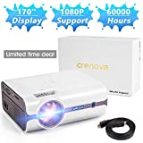 Crenova Upgraded (+80% Lumens) LED Portable Projector with Carrying Box, 1080P Supported HD