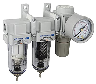 "PneumaticPlus SAU230-N02G Mini Three Stage Air Drying System, 1/4"" NPT - Particulate Air Filter, Coalescing Filter, Air Pressure Regulator Combo - Poly Bowl, Manual Drain, Bracket, Gauge"