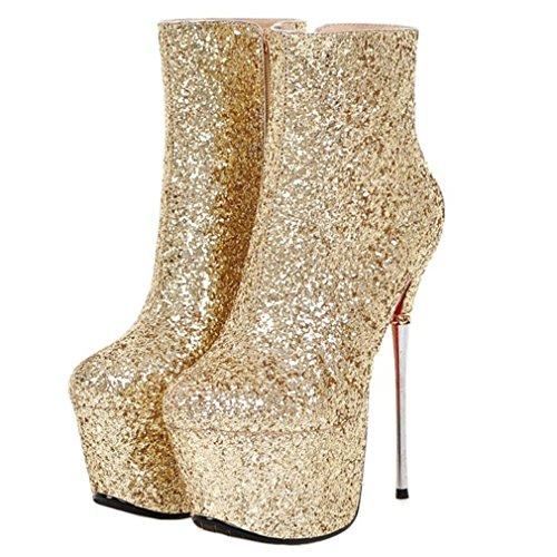 ENMAYER Frauen Glitter Material Schuhe Hohe Plattform High Heel Stiefel Reißverschluss Gold