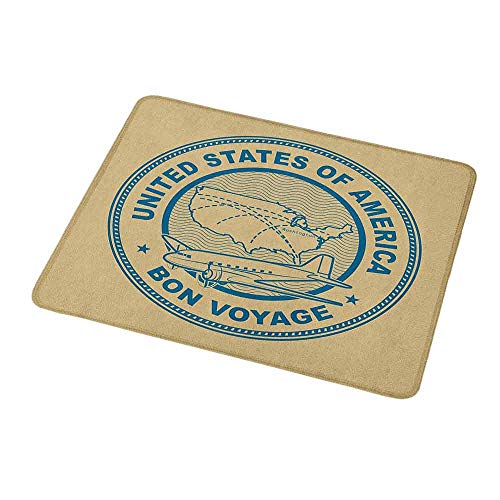 Mouse Pad Custom Travel,United States of America Map with a Plane Silhouette Holiday Themed Stamp Design,Tan and Blue,Personalized Design Non-Slip Rubber Mouse pad 9.8