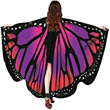 Hemlock 2018 New Costume Butterfly Wings Shawl Cape Scarf Fairy Poncho Wrap Butterfly Shawl Accessory (Red)