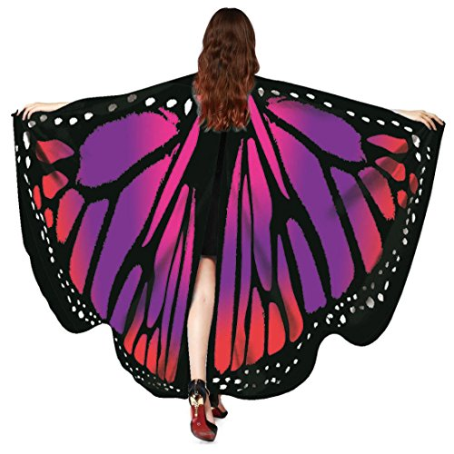 Hemlock 2018 New Costume Butterfly Wings Shawl Cape Scarf Fairy Poncho Wrap Butterfly Shawl Accessory (Red) -