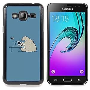 Queen Pattern - FOR Samsung Galaxy J3 - Polar Bear Computer Tech Art Global Warming - Cubierta del caso de impacto con el patr???¡¯???€????€????