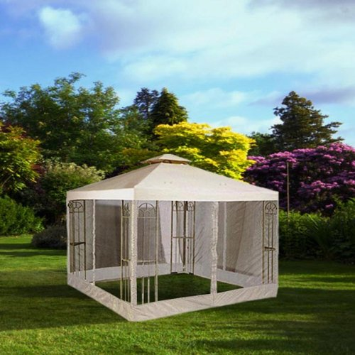 10x10 Feet/ 121x121-inch Square Ivory Poly-vinyl Garden Canopy Gazebo Replacement Top with Mosquito Net 2-tier Waterproof for Outdoor Patio UV Protect Sun Shade (2 Tier Gazebo)