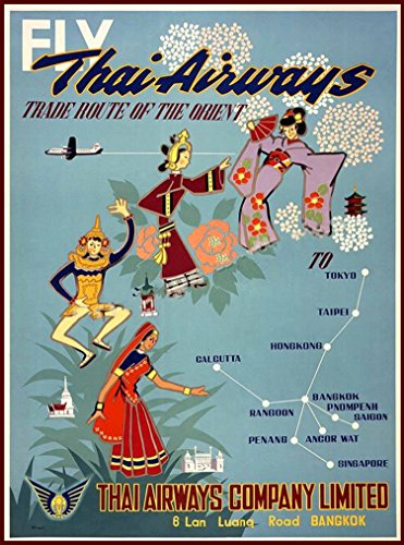 A SLICE IN TIME Fly Thai Airways Bangkok Thailand Southeast Asia Asian Vintage Airlines Travel Advertisement Art Collectible Wall Decor Poster Print. Poster measures 10 x 13.5 inches