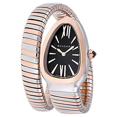 Bulgari Women's Black Dial Stainless Steel & 18K Rose Gold