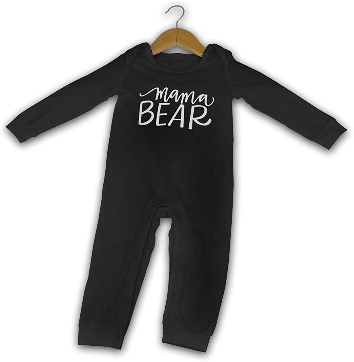 Mama Bear Printed Boys Girls One-Piece Suit Long Sleeve Romper Black
