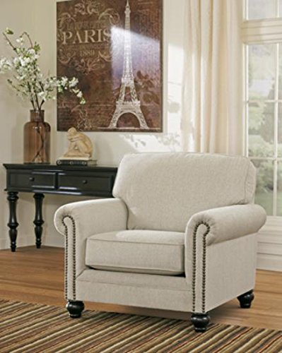 Classic Gold Tone Frame (Ashley Furniture Signature Design - Milari Accent Chair - Classic Style Side Chair - Tight Back - Linen)